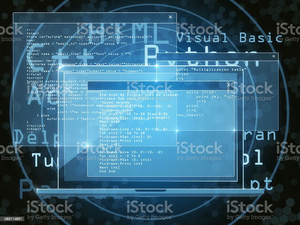 Coding Program Abstract 3D illustration. Blue Stock Photo