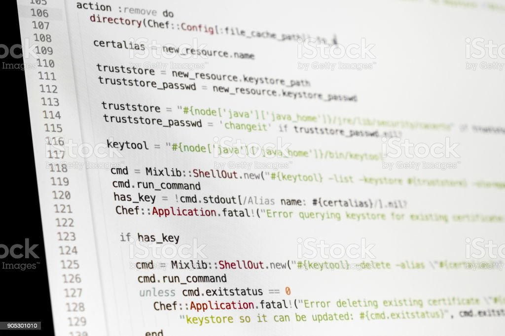 Coding programmer abstract background. Computer language script code on screen stock photo