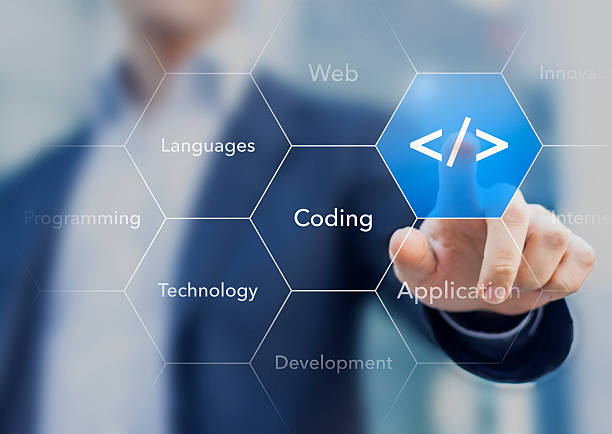 Coding symbol on virtual screen about developing apps or websites Coding symbol on virtual screen about developing apps or websites php programming language stock pictures, royalty-free photos & images