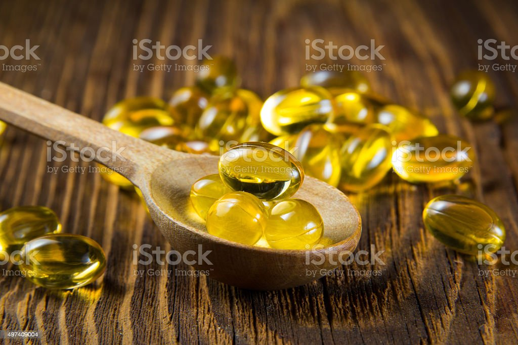 Cod-liver oil, omega3, vitamin D stock photo