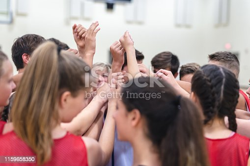 A group of co-ed elementary-age basketball players huddle together on the court and raise their fists in triumph and solidarity. The shot is from overhead.