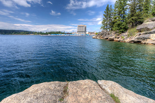 Coeur d'Alene Lake from Tubbs Hill. stock photo