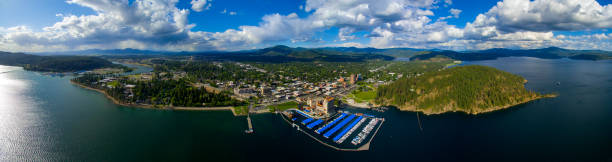 Coeur d'Alene,Idaho Aerial View stock photo