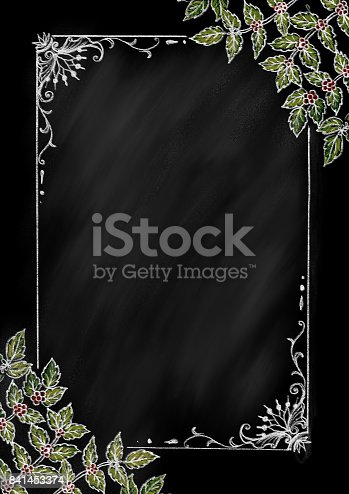 Vintage frame ,chalkboard style decorate with coffee tree in the corners for menu background,poster and backdrop.