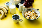 Coffe and granola for breakfast
