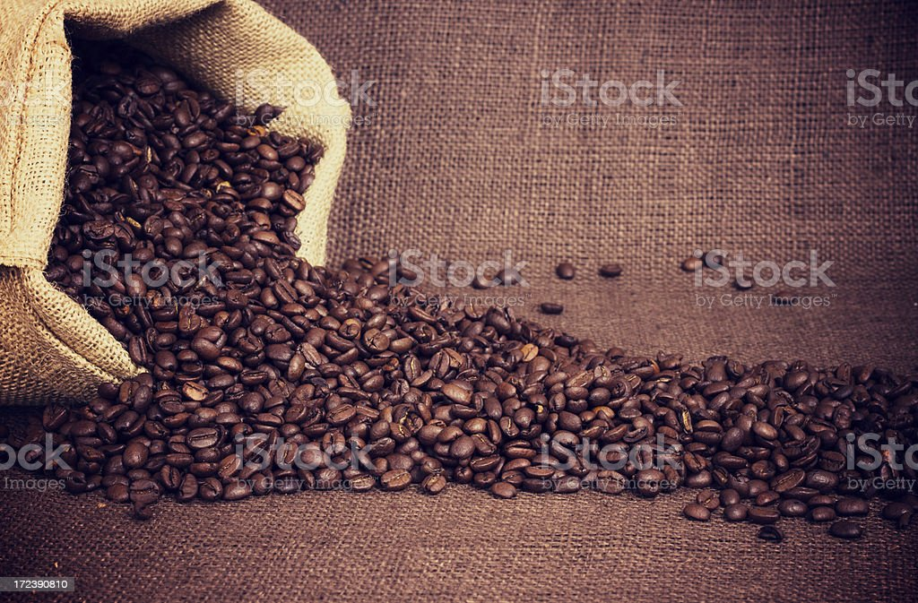 Coffe Beans And Burlap Bag royalty-free stock photo