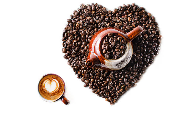 Coffe beans in the shape of a big heart stock photo