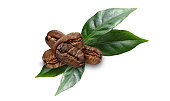 istock coffe beans with leaves on white 962310392