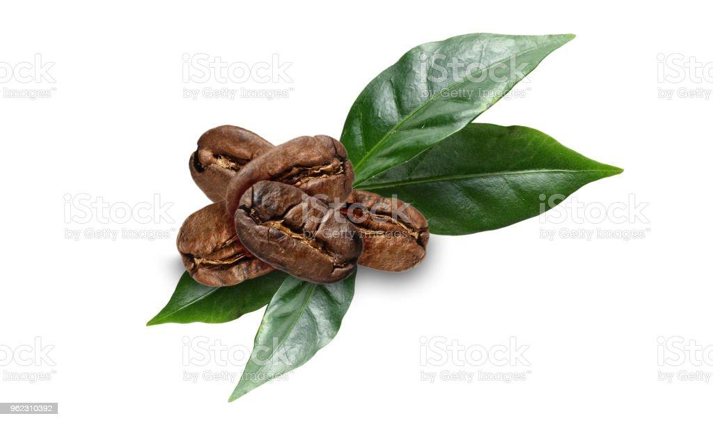 fèves de café avec feuilles sur blanc - Photo