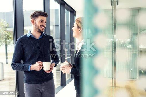 istock Coffe break at the office corridor 483955138