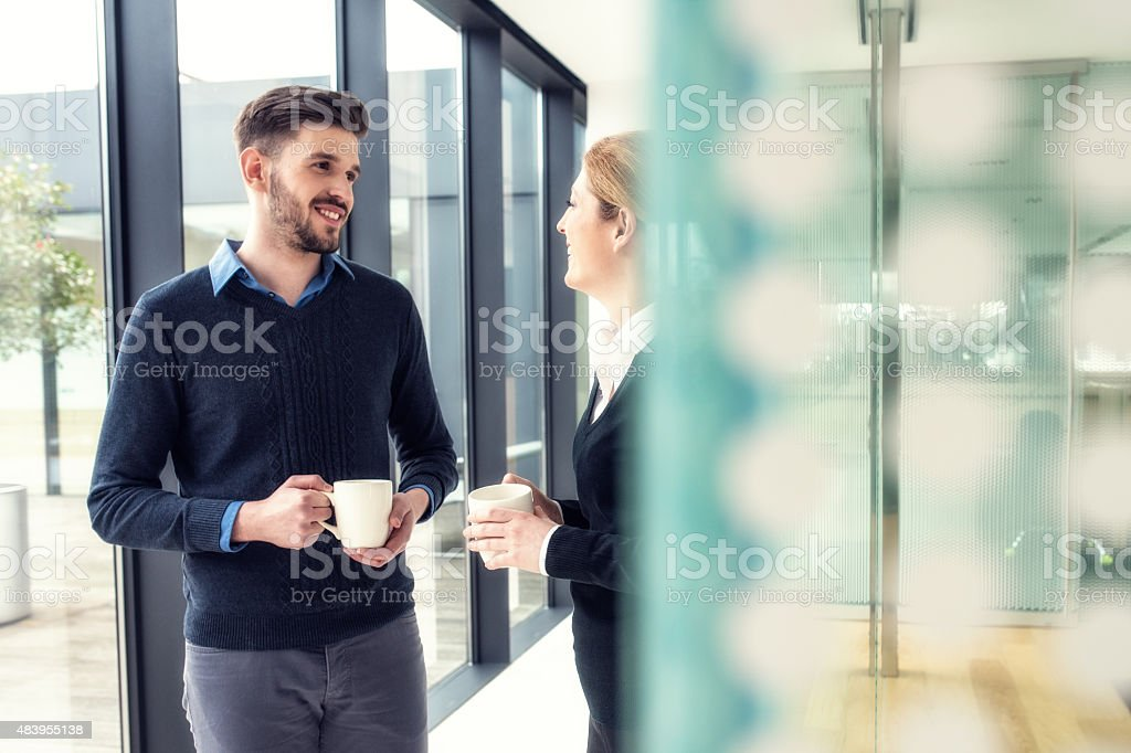 Coffe break at the office corridor stock photo