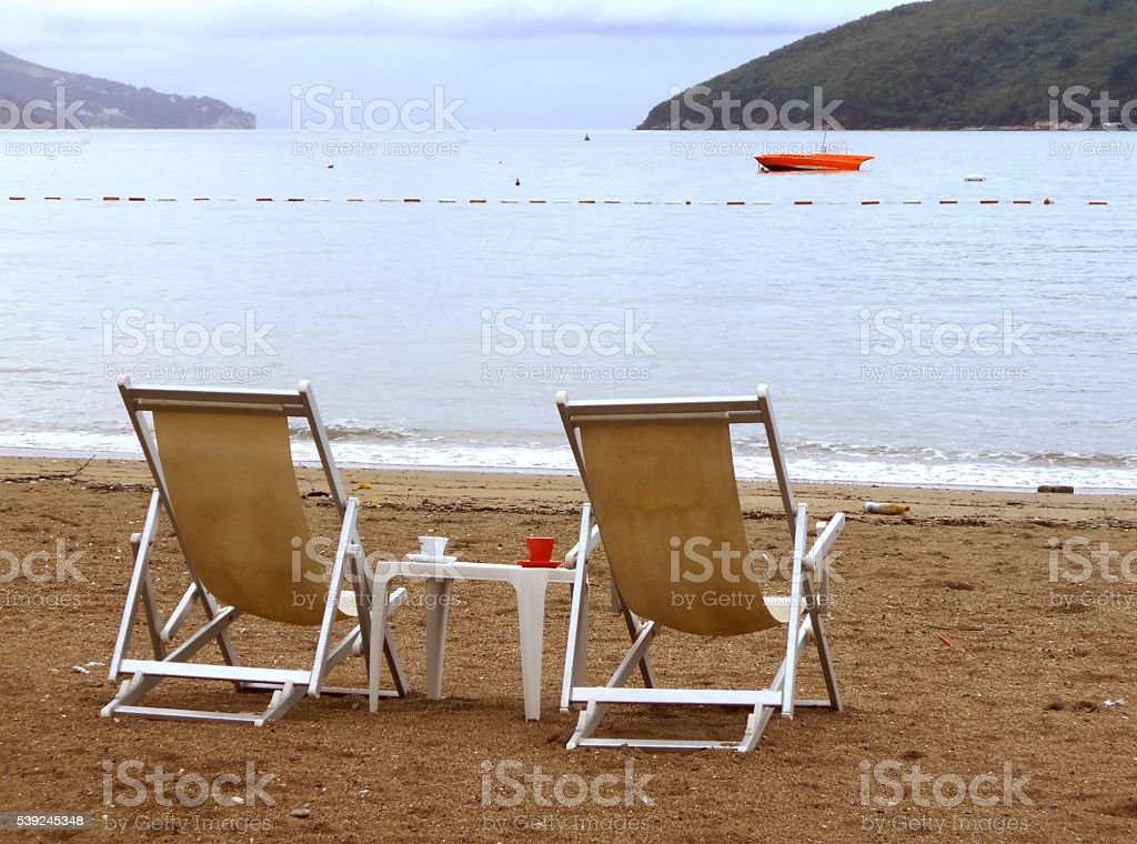 Coffe break on the beach royalty-free stock photo