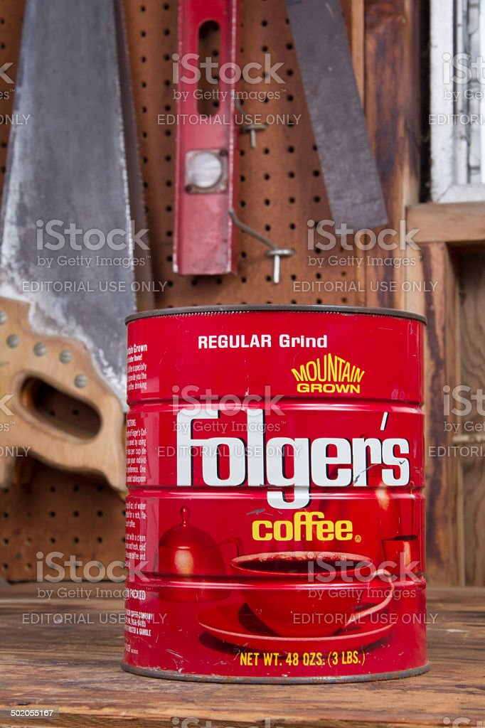 Coffe Can on Workbench royalty-free stock photo