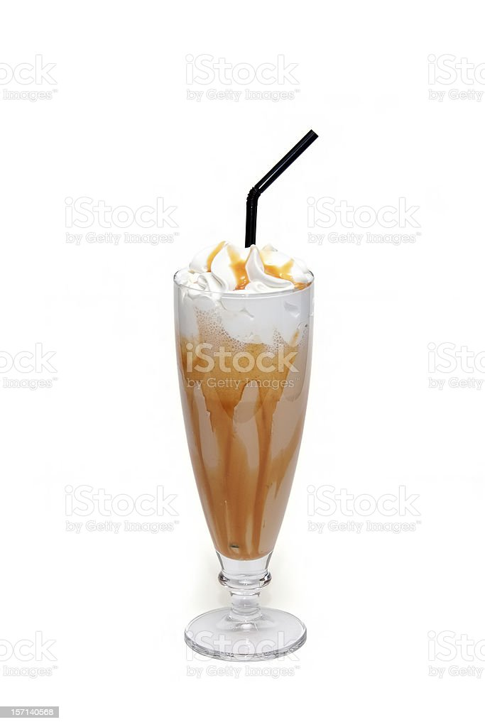 Coffe cocktail with caramel in glass cup stock photo