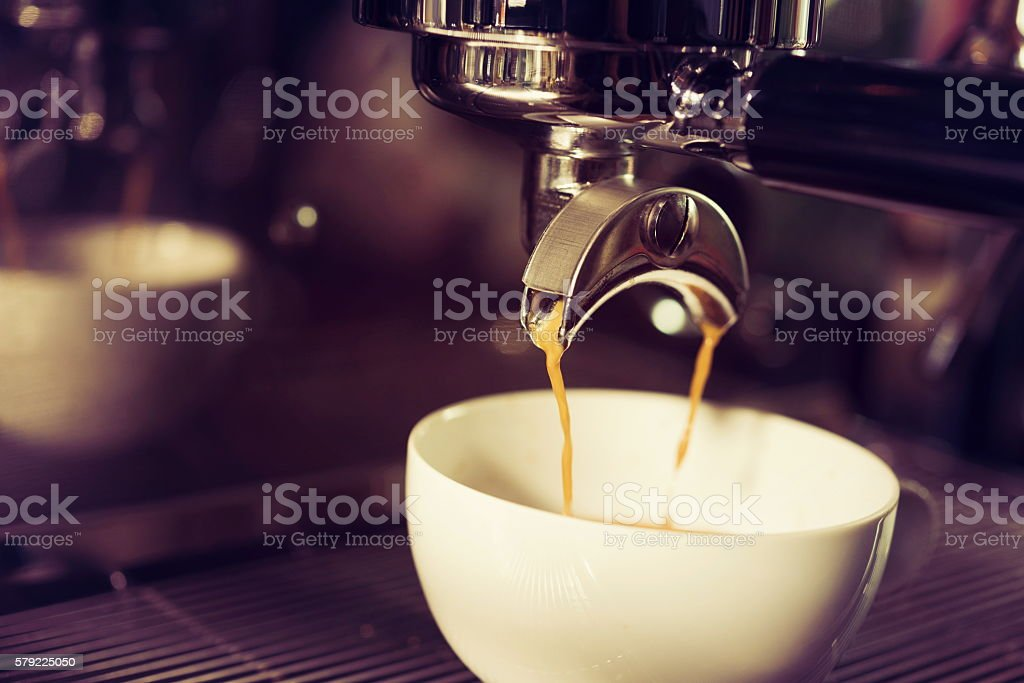 coffe manchine Professional coffee,Perfecting the coffee stock photo