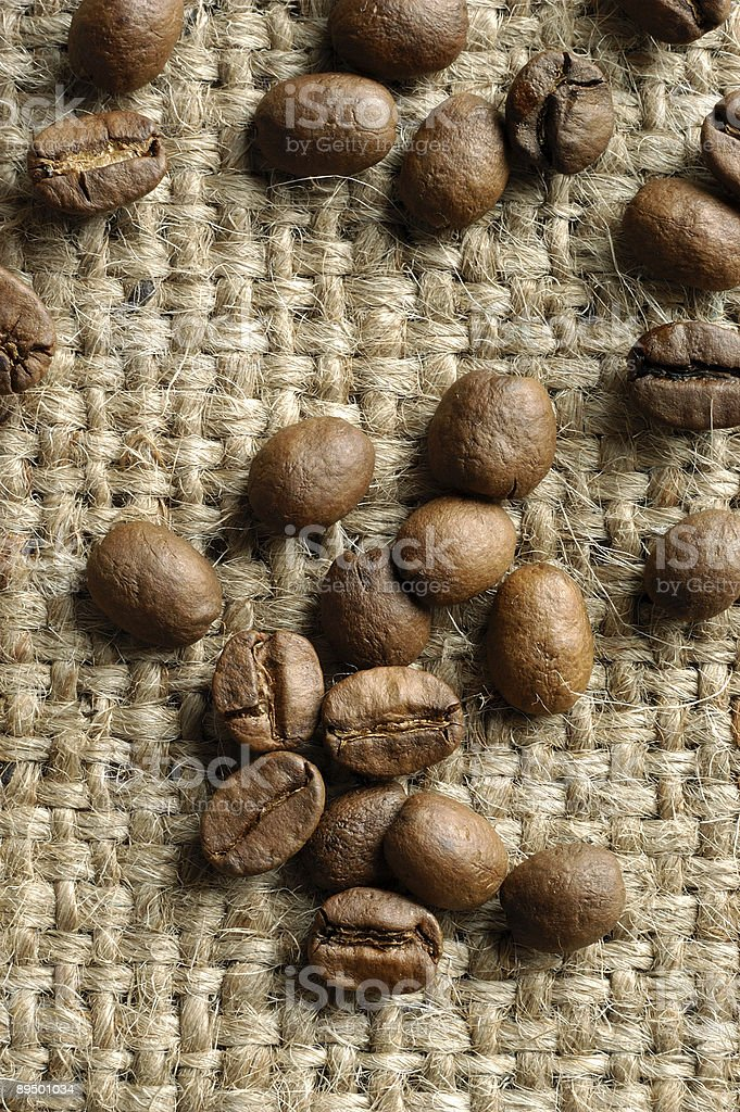 Coffe on a flax canvas royalty free stockfoto