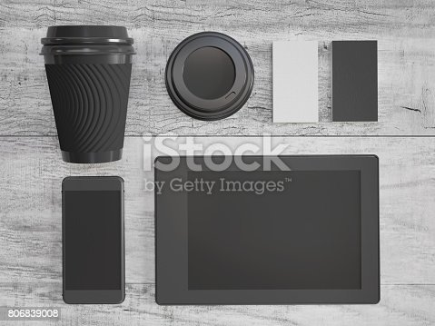 istock Coffe pape cup, mockup on wood desk 806839008