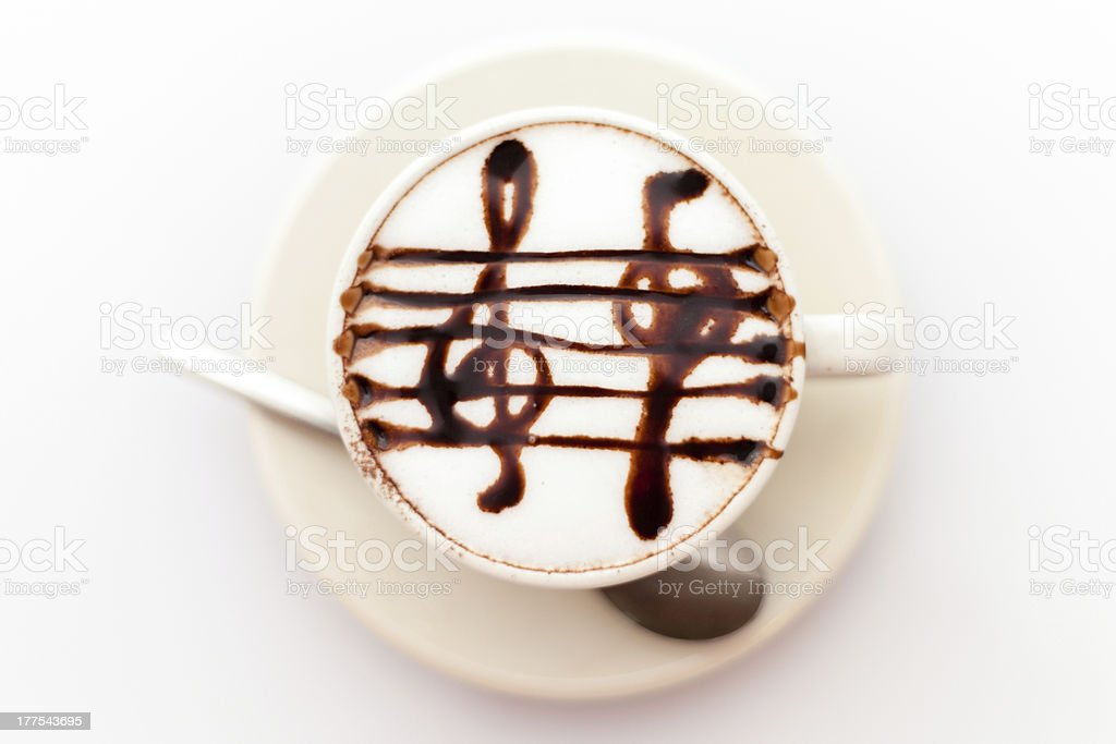 Coffe with musical notes royalty-free stock photo