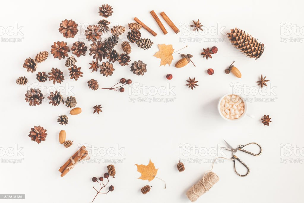 Coffee, accessories, autumn leaves, pine cones. Flat lay, top view stock photo
