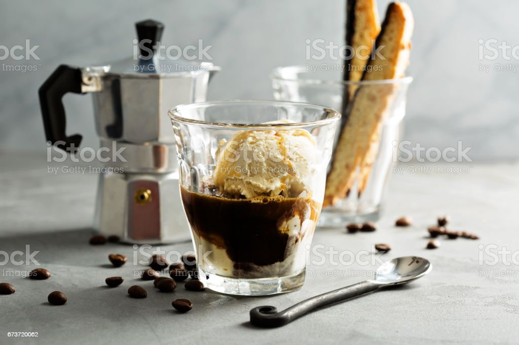 Coffee affogato with vanilla ice cream 스톡 사진