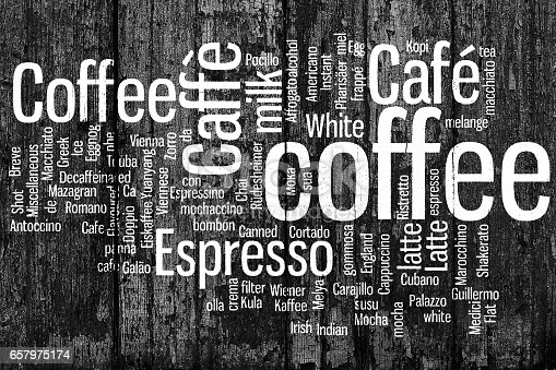istock Coffee. All types of coffee, coffee drink. Conceptual word cloud, creative art illustration on wooden boards. The natural background. Black and white image. 657975174