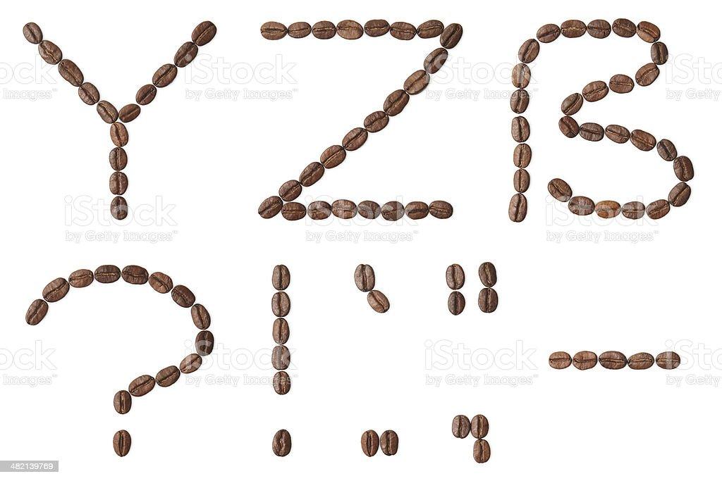 'Coffee' alphabet. Capital letters Y, Z, eszett, ?, !, -. royalty-free stock photo