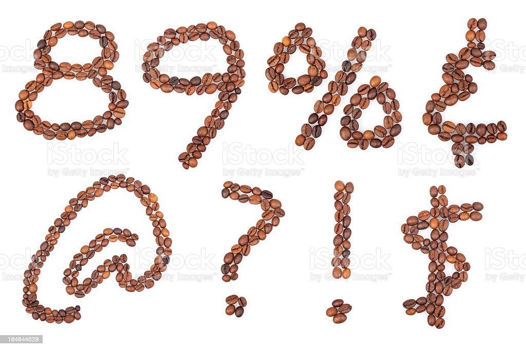 Coffee alphabet symbols royalty-free stock photo
