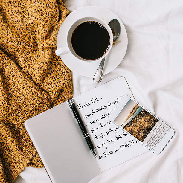 Coffee Americano Espresso Newspaper Bedroom To Do List Concept stock photo