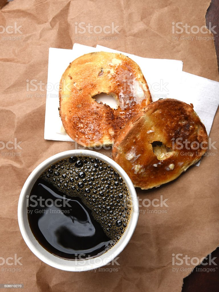 Coffee and a bagel stock photo