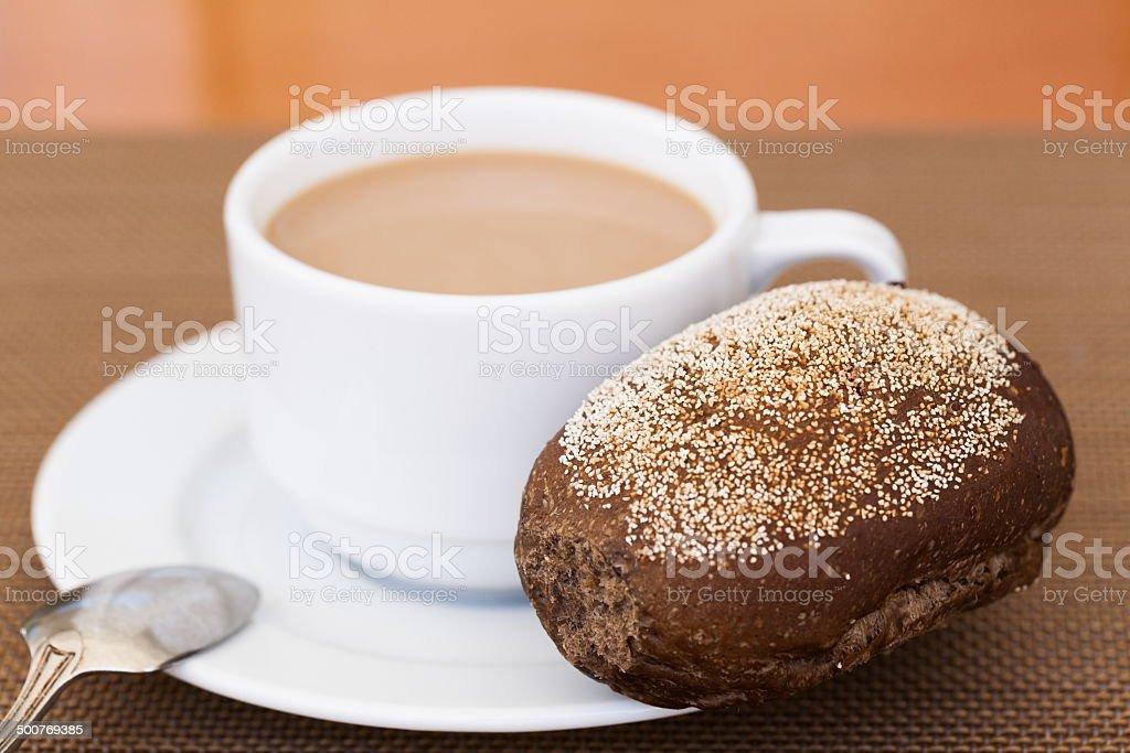 coffee and a bun stock photo