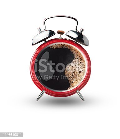 Coffee and Alarm Clock - White background