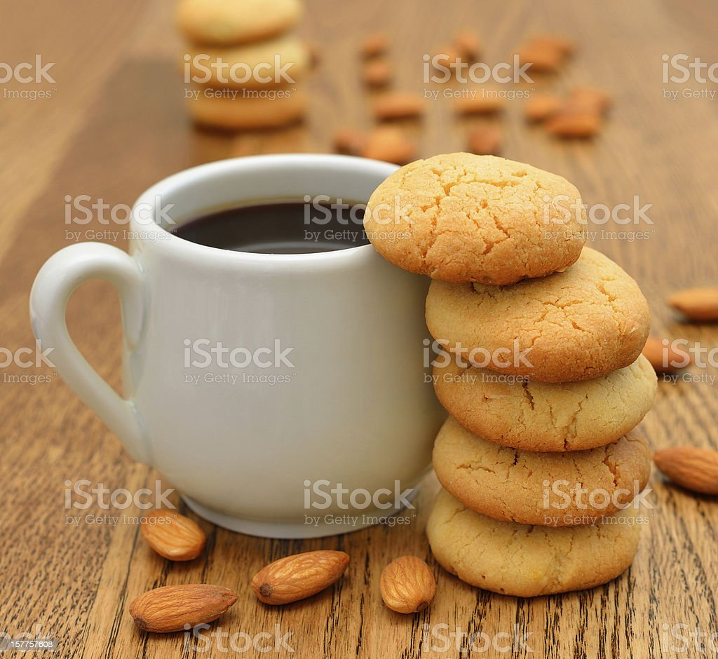 Coffee and almond cookies royalty-free stock photo