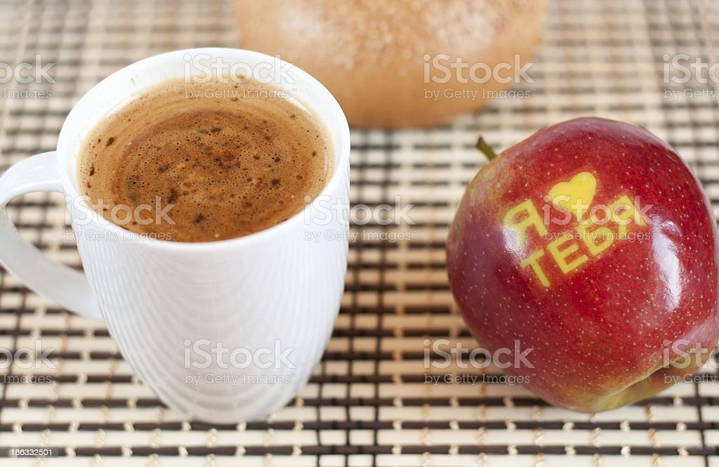 Coffee and apple with inscription 'I love you' in Russian royalty-free stock photo