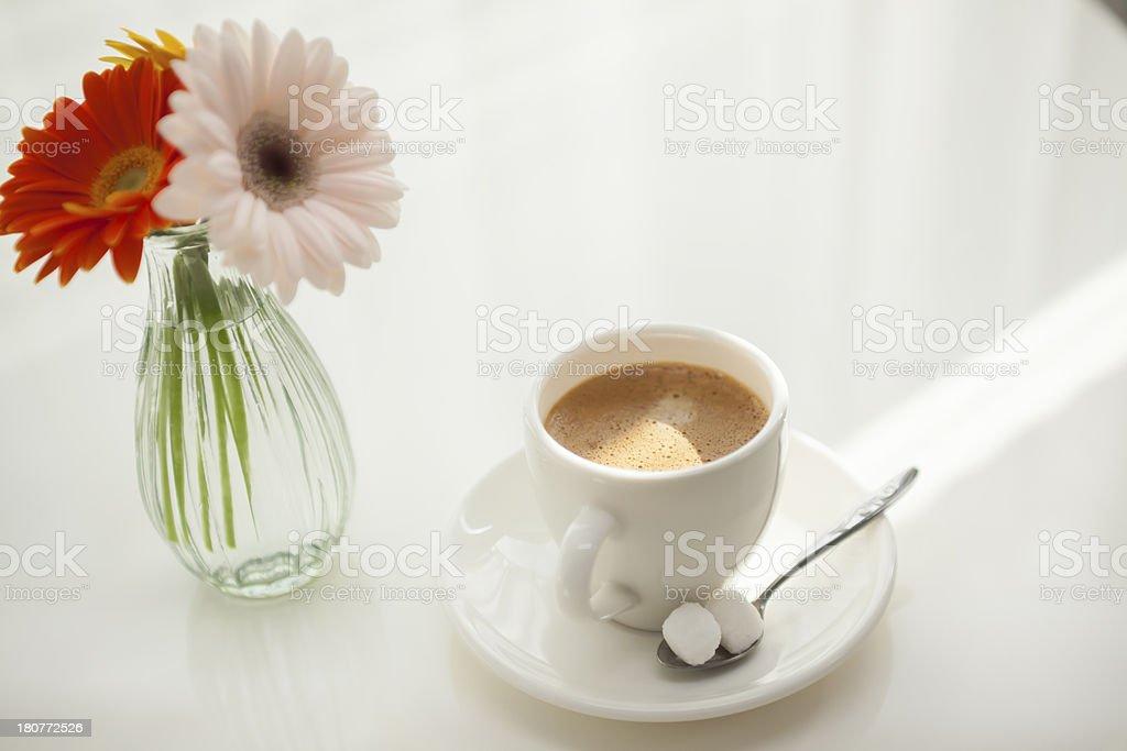 Coffee and Barberton daisy royalty-free stock photo