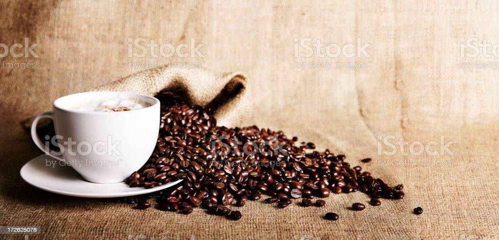 Coffee and beans stock photo