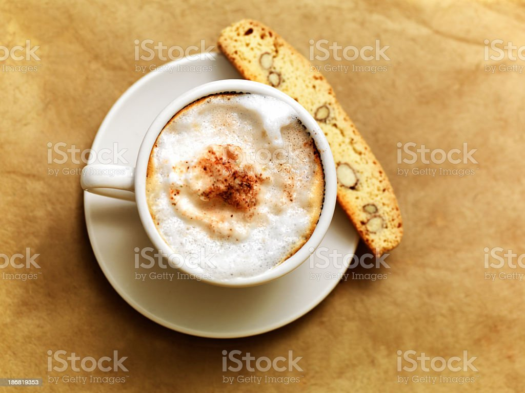 Coffee and biscotti stock photo