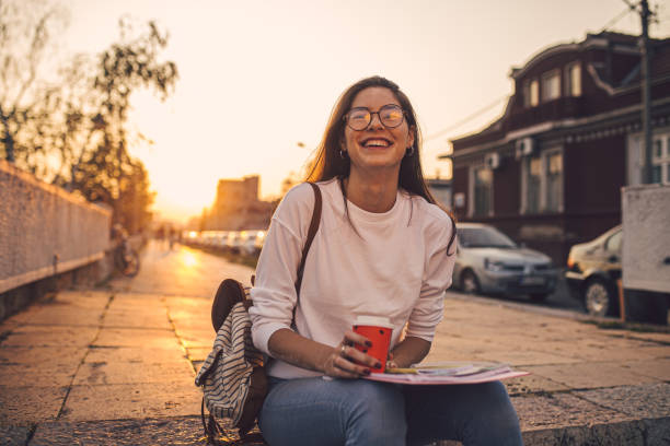Coffee and books is what makes a student whole stock photo