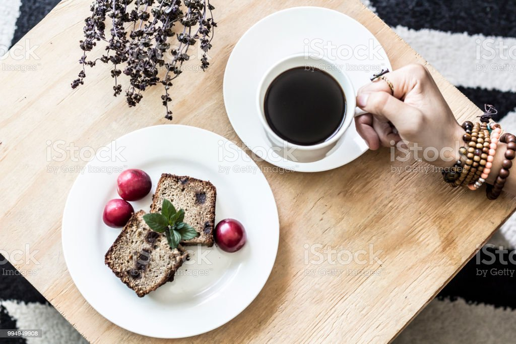 Coffee and bread flat lay stock photo