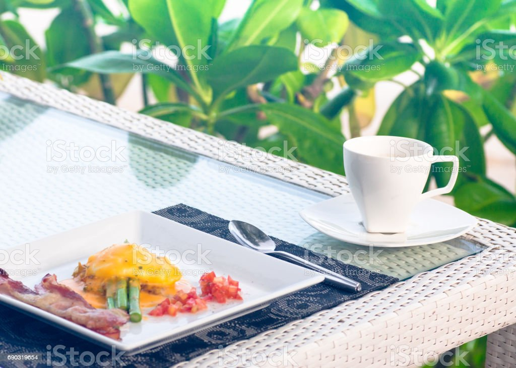 coffee and breakfast stock photo