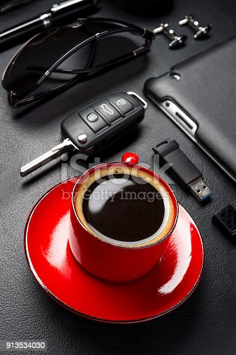 625840656 istock photo Coffee and business man accessories 913534030