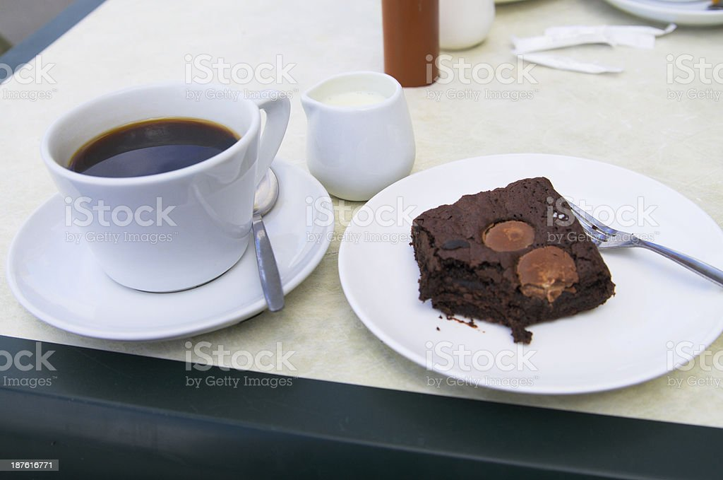 Coffee And Cake At Cafe Table royalty-free stock photo