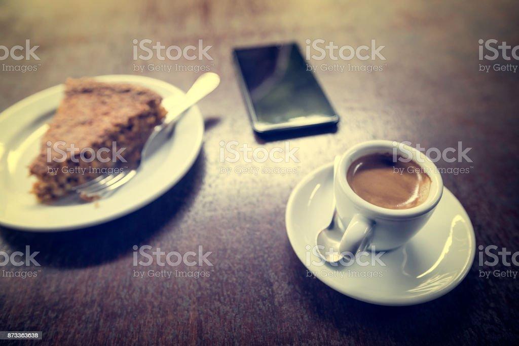 coffee and cake zbiór zdjęć royalty-free