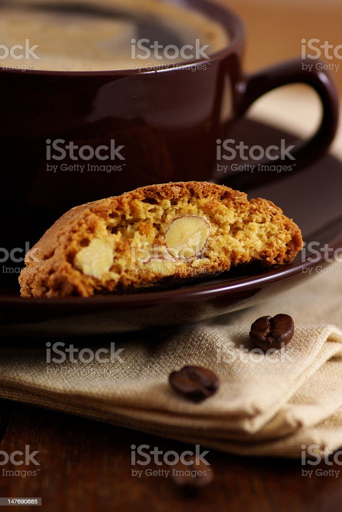 Coffee and Cantuccini royalty-free stock photo