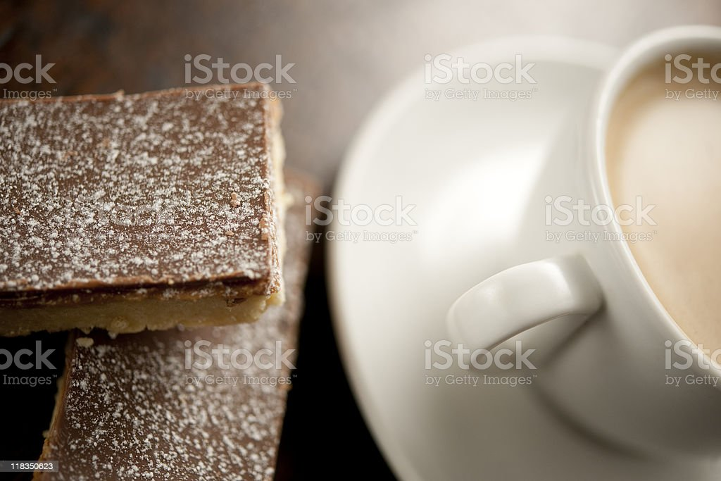 coffee and Caramel Shortbread biscuits royalty-free stock photo