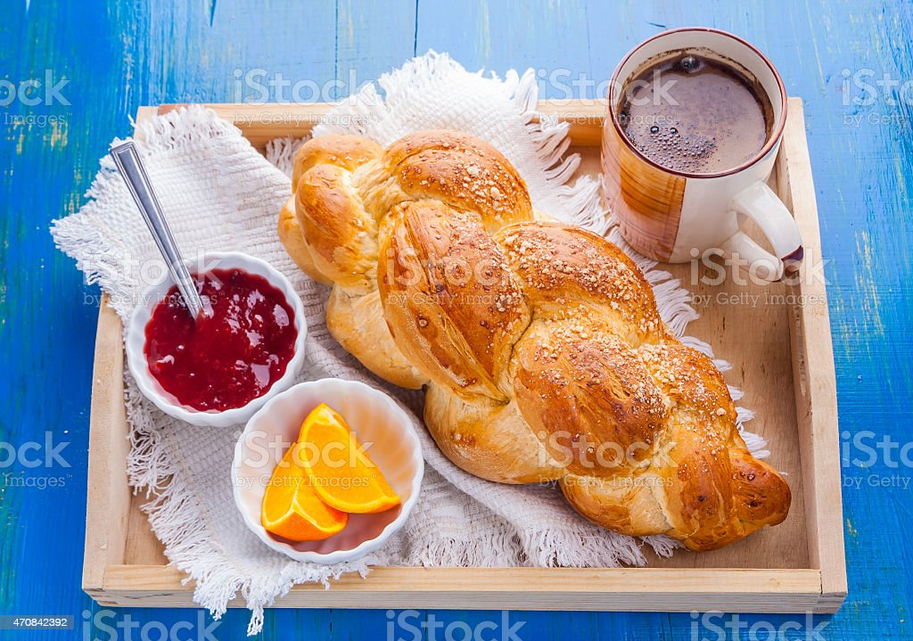 coffee and challah. breakfast table stock photo