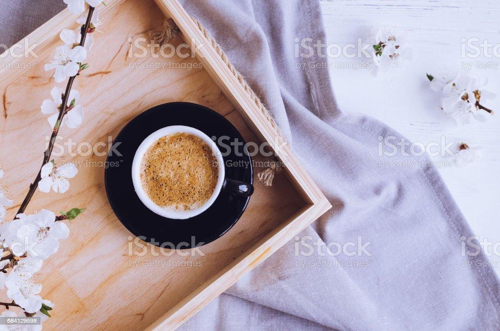 Koffie en cherry blossom royalty free stockfoto