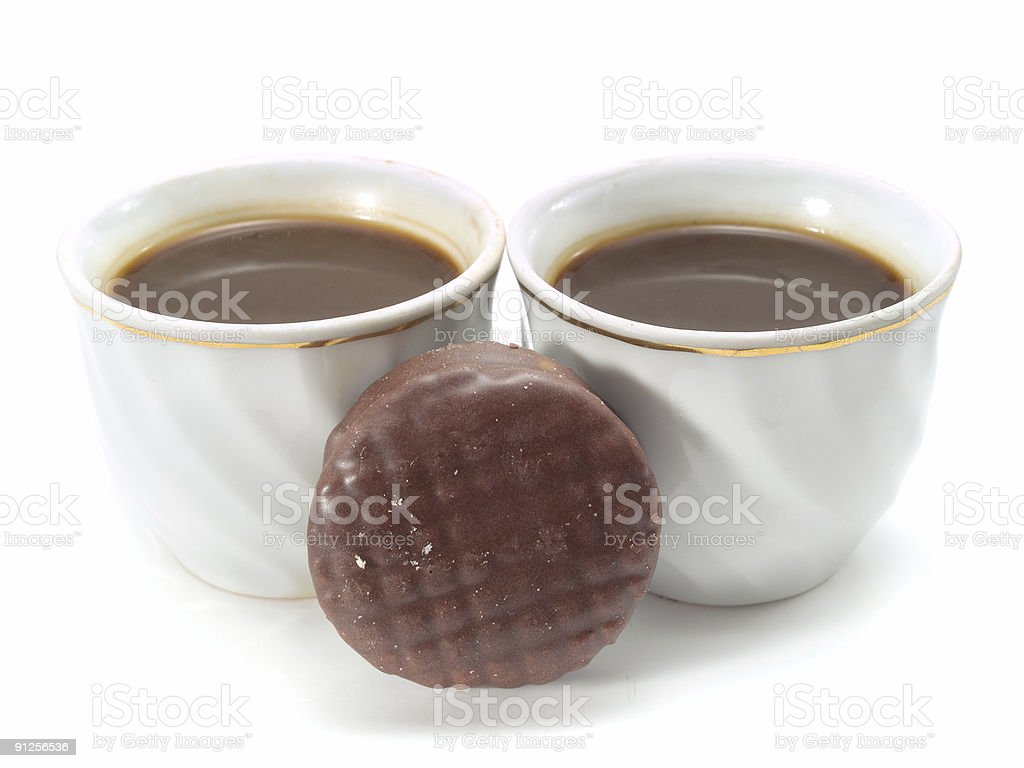 Coffee and Chocolate Biscuit royalty-free stock photo