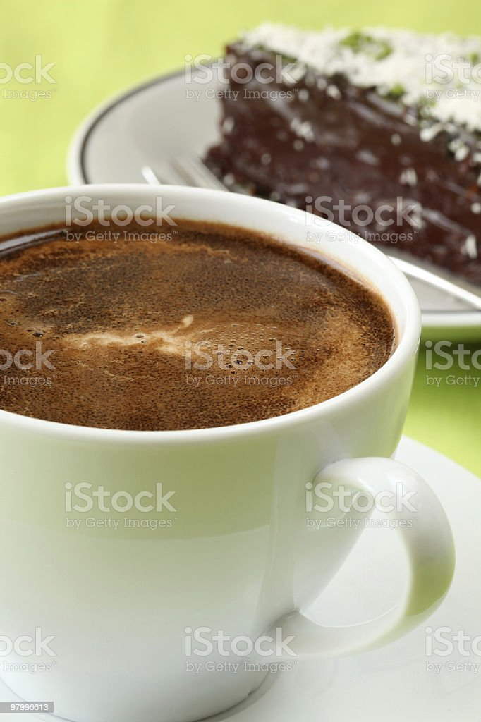 Coffee and chocolate cake royalty-free stock photo