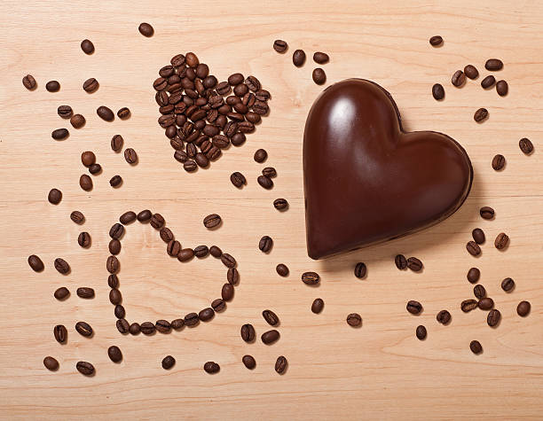 coffee and chocolate hearts stock photo