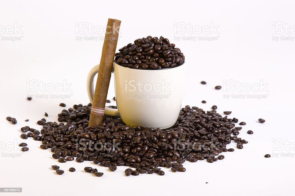 coffee and cigar stock photo